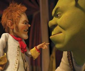 Shrek is duped by signing a pact with the affable negotiator Rumpelstiltskin puzzle