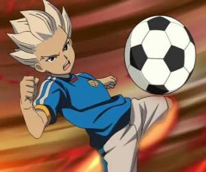 Shuya Gouenji or Axel Blaze, striker and scorer of the Raimon's team in the adventures from Inazuma Eleven puzzle