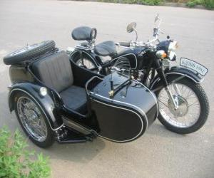 Sidecar a three-wheeled vehicle puzzle