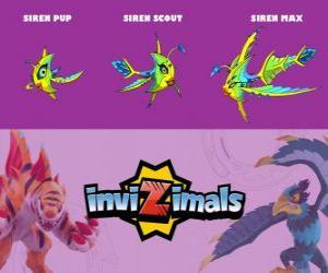 Siren in three phases Siren Pup, Siren Scott and Siren Max, Invizimals puzzle