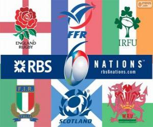 Six Nations Championship rugby with the participants: France, Scotland, England, Wales, Ireland and Italy puzzle