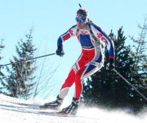Skier in full effort in the practice of cross-country skiing or Nordic skiing puzzle
