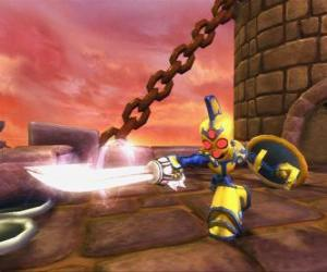 Skylander Chop Chop, a tough warrior with sword and shield. Undead Skylanders puzzle
