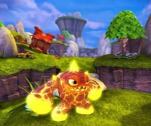Skylander Eruptor, a creature that throws fireballs and flames. Fire Skylanders puzzle