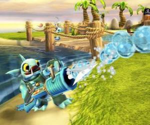 Skylander Gill Grunt, a creature that never lets escape its prey. Water Skylanders puzzle