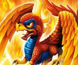 Skylander Sunburn, a winged dragon. Fire Skylanders puzzle
