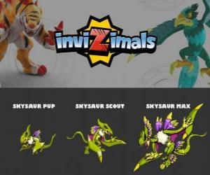 Skysaur in three phases Skysaur Pup, Skysaur Scott and Skysaur Max, Invizimals puzzle