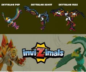 Skytalon in three phases Skytalon Pup, Skytalon Scott and Skytalon Max, Invizimals puzzle