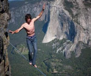 Slacklining is a practice in balance that uses 1 inch nylon webbing tensioned between two anchor points puzzle