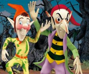 Sly and Gobbo, the mischievous goblins in Noddy's adventures puzzle