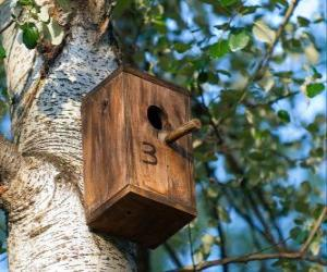 Small house of wood for the birds in spring puzzle