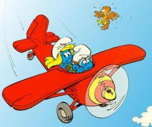 Smurf and Smurfette a flying a red plane puzzle