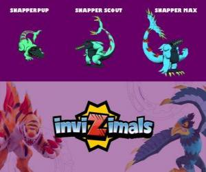 Snapper in three phases Snapper Pup, Snapper Scott and Snapper Max, Invizimals puzzle