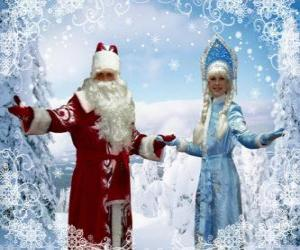 Snegurochka or the Snow Maiden and Dyet Maros or Grandfather Frost, russian traditional Christmas characters puzzle