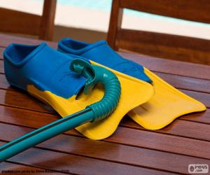Snorkel and scuba flippers puzzle