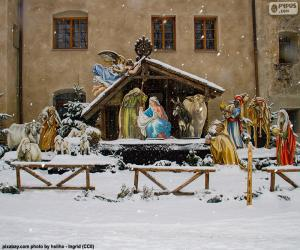 Snow-covered manger puzzle