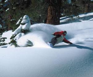 Snowboarder descending in fresh snow puzzle