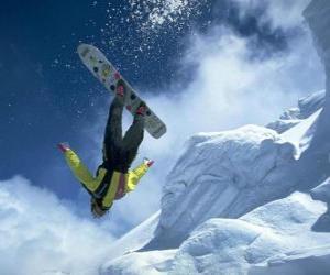 Snowborder in a jump puzzle