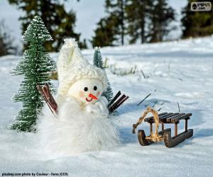 Snowman and sleigh puzzle