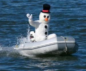 Snowman in a boat puzzle