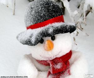 Snowman's with scarf puzzle