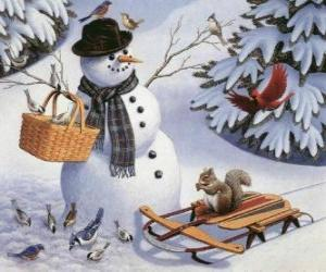 Snowman with a squirrel and several birds around puzzle