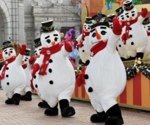 Snowmen dancing puzzle