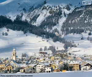 Snowy village puzzle