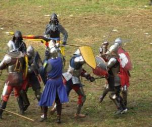 Soldiers fighting with swords and shields puzzle