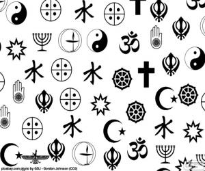 Some symbols of different world religions puzzle