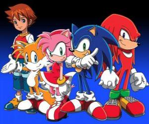 Sonic and other characters from the Sonic's videogames puzzle