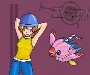 Sora playing with her digimon Biyomon. Sora Takenouchi is the most responsible and mature of the group puzzle