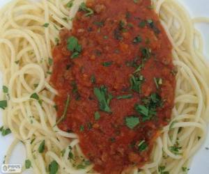 Spaghetti with tomato sauce puzzle