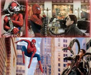 Spiderman fighting against the villain Doctor Octopus, one of his greatest enemies puzzle