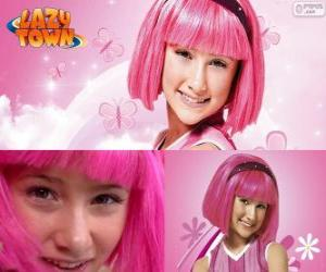 Stephanie, the girl protagonist from Lazy Town who loves the colour pink puzzle