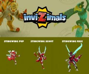 Stingwing in three phases Stingwing Pup, Stingwing Scott and Stingwing Max, Invizimals puzzle