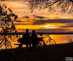 Sunset in couple puzzle