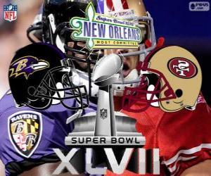 Super Bowl 2013. San Francisco 49ers vs. Baltimore Ravens. Superdome, New Orleans puzzle
