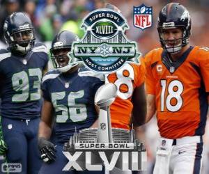 Super Bowl 2014. Seattle Seahawks vs Denver Broncos. MetLife Stadium, New Jersey, on February 2, 2014 puzzle