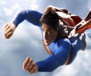 Superman flying into the sky, with closed fists and with his suit coat puzzle