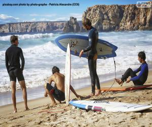 Surfers on the beach puzzle