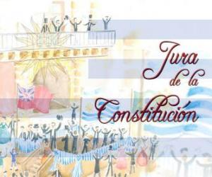 Swearing of the Constitution of Uruguay. Every July 18 is celebrated the oath of the first national constitution of 1830 puzzle