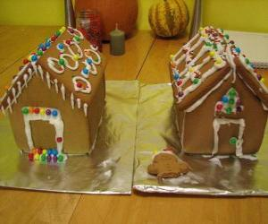 Sweet and beautiful Christmas ornament, two gingerbread houses puzzle