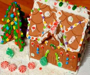Sweet and beautiful Christmas ornament, a gingerbread house puzzle