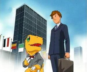 Tai and Agumon will work puzzle
