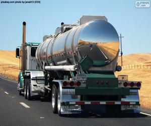Tank truck on road puzzle