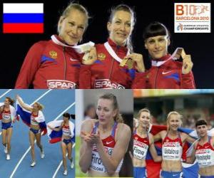 Tatiana Firova champion in 400 m, Xenia Krivoshapka Ustalova and Antonina (2nd and 3rd) in the European Athletics Championships Barcelona 2010 puzzle