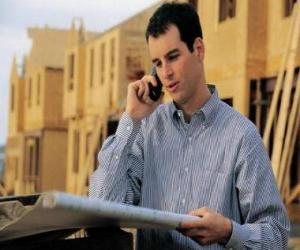 Technician consulting a plane in the building work - Architect, foreman builder, quantity surveyor or engineer puzzle