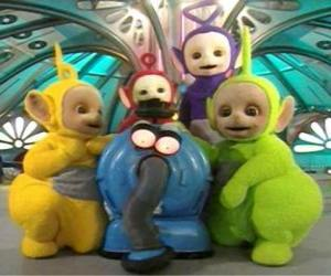 Teletubbies with Noo-noo, the vacuum cleaner that takes care of them puzzle