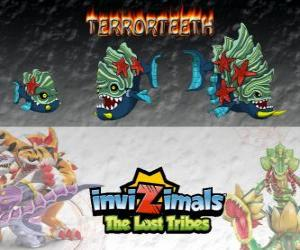 Terrorteeth, latest evolution. Invizimals The Lost Tribes. Aquatic Invizimal that eats very quick and that bites everything puzzle